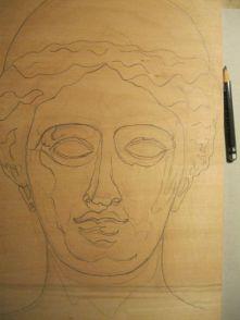 Zunächst zeichne ich mit dem Bleistift die Konturen, …